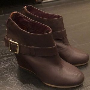 Deep Plum wedge booties size 8